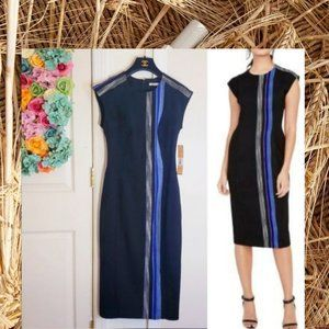 NWT Rachel Roy Navy Fitted Slim Midi Dress 6 SMALL